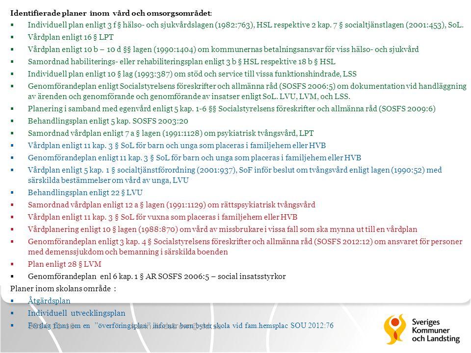 Identifierade planer inom vård och omsorgsområdet:  Individuell plan enligt 3 f § hälso- och sjukvårdslagen (1982:763), HSL respektive 2 kap. 7 § soc
