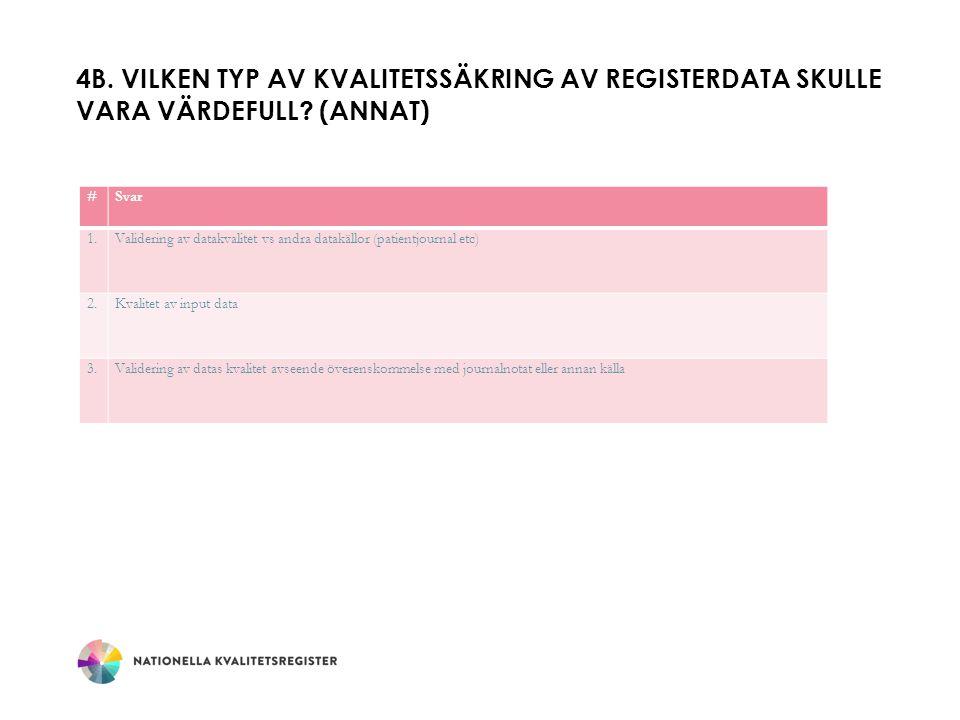4B.VILKEN TYP AV KVALITETSSÄKRING AV REGISTERDATA SKULLE VARA VÄRDEFULL.