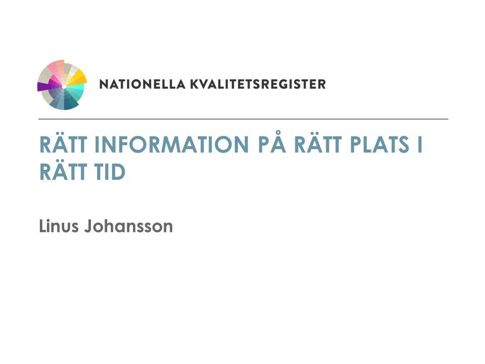 RÄTT INFORMATION PÅ RÄTT PLATS I RÄTT TID Linus Johansson