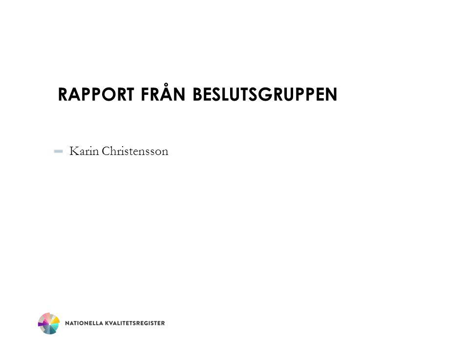 RAPPORT FRÅN BESLUTSGRUPPEN Karin Christensson