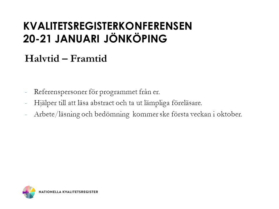 KVALITETSREGISTERKONFERENSEN 20-21 JANUARI JÖNKÖPING Halvtid – Framtid -Referenspersoner för programmet från er.