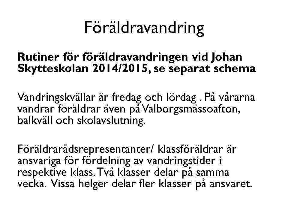 Föräldravandring Rutiner för föräldravandringen vid Johan Skytteskolan 2014/2015, se separat schema Vandringskvällar är fredag och lördag. På vårarna