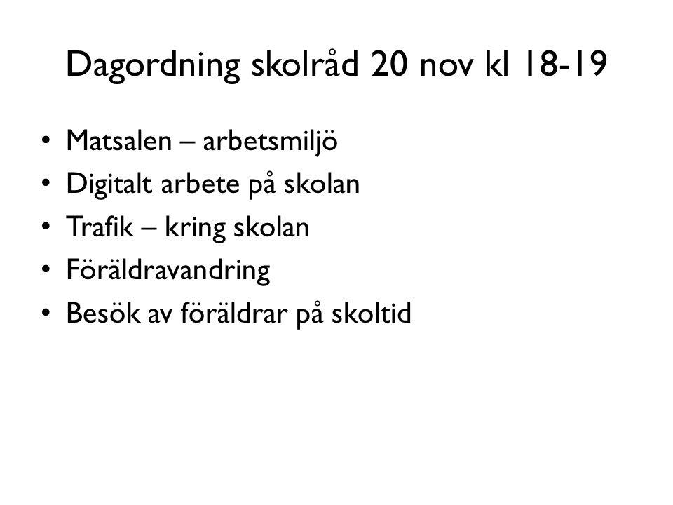 Dagordning skolråd 20 nov kl 18-19 Matsalen – arbetsmiljö Digitalt arbete på skolan Trafik – kring skolan Föräldravandring Besök av föräldrar på skolt