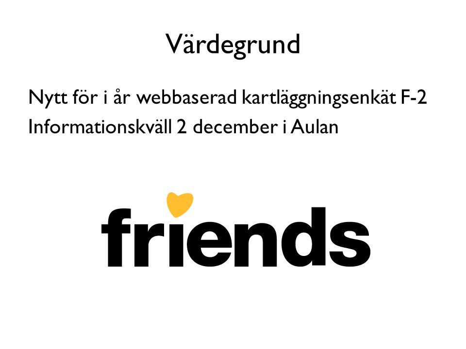Värdegrund Nytt för i år webbaserad kartläggningsenkät F-2 Informationskväll 2 december i Aulan