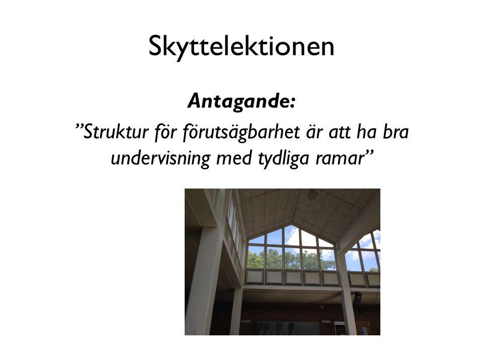 """Skyttelektionen Antagande: """"Struktur för förutsägbarhet är att ha bra undervisning med tydliga ramar"""""""