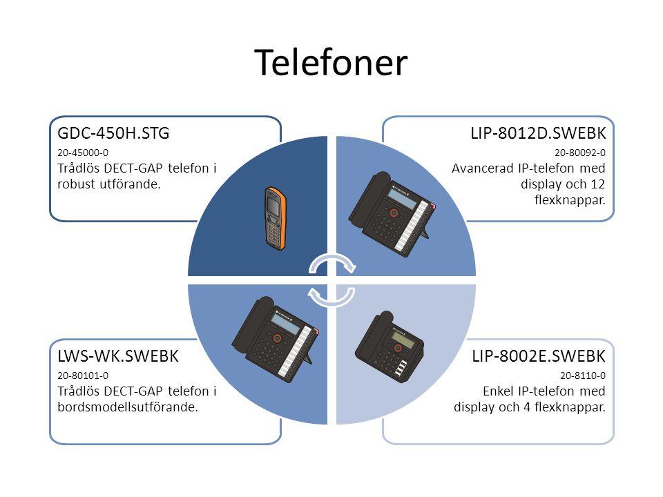 Telefoner LIP-8002E.SWEBK 20-8110-0 Enkel IP-telefon med display och 4 flexknappar. LWS-WK.SWEBK 20-80101-0 Trådlös DECT-GAP telefon i bordsmodellsutf