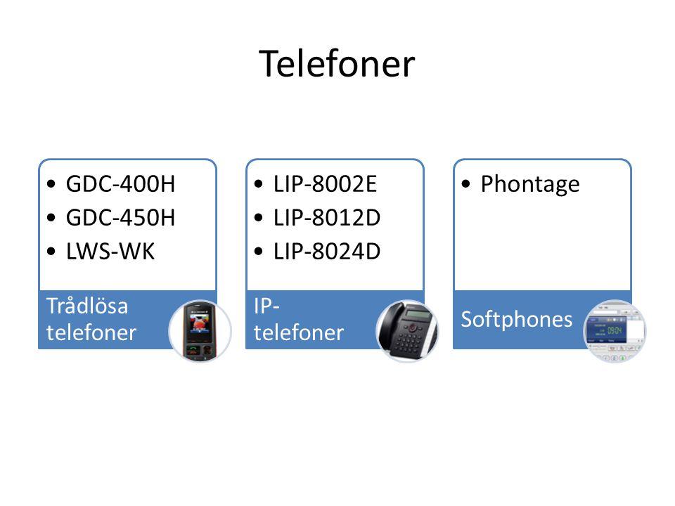 Telefoner GDC-400H GDC-450H LWS-WK Trådlösa telefoner LIP-8002E LIP-8012D LIP-8024D IP- telefoner Phontage Softphones