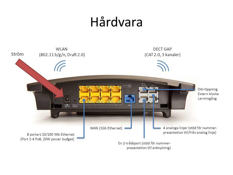 Hårdvara WAN (1Gb Ethernet) En 2-trådsport (stöd för nummer- presentation till anknytning) 4 analoga linjer (stöd för nummer- presentation till/från analog linje) WLAN (802.11 b/g/n, Draft 2.0) DECT GAP (CAT 2.0, 3 kanaler) Dörröppning Extern klocka Larmingång 8 portars 10/100 Mb Ethernet (Port 1-4 Po8, 20W power budget) Ström