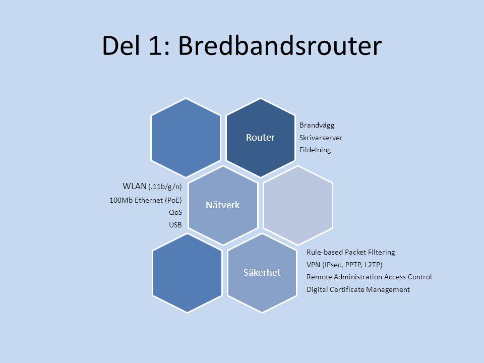 Del 1: Bredbandsrouter Router Brandvägg Skrivarserver Fildelning Nätverk WLAN (.11b/g/n) 100Mb Ethernet (PoE) QoS USB Säkerhet Rule-based Packet Filtering VPN (IPsec, PPTP, L2TP) Remote Administration Access Control Digital Certificate Management