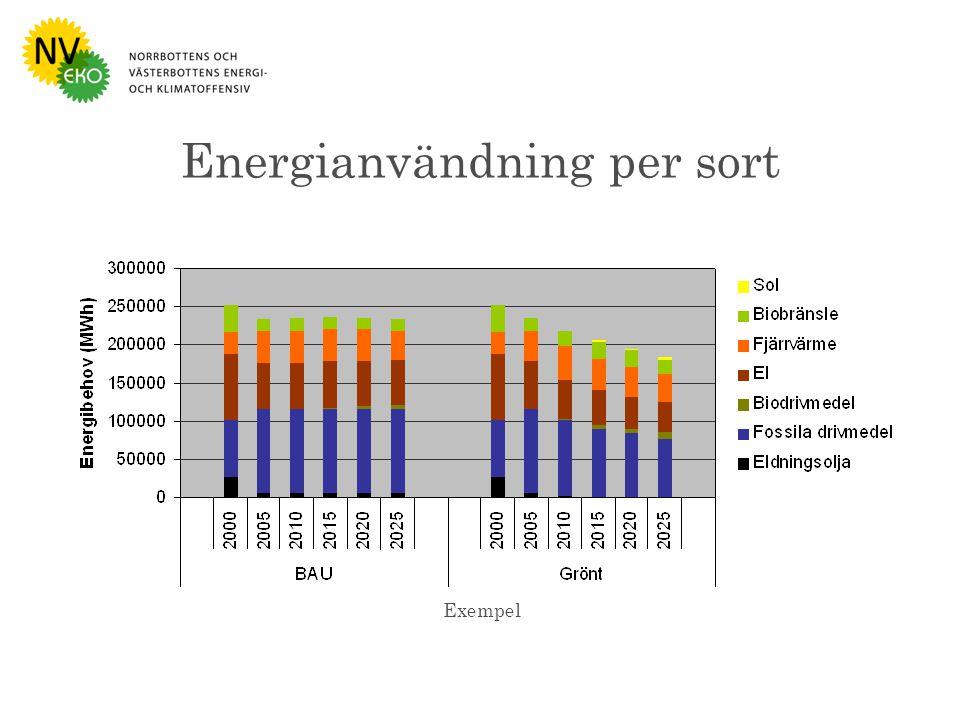 Bild : Naturvårdsverket Energianvändning per sort Exempel