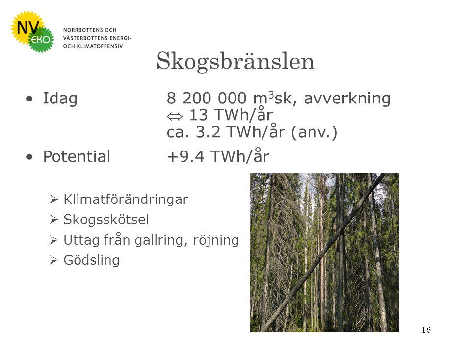 16 Skogsbränslen Idag 8 200 000 m 3 sk, avverkning  13 TWh/år ca.