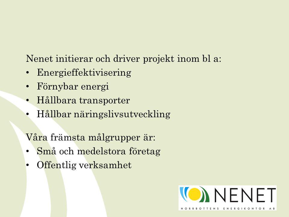 Nenet initierar och driver projekt inom bl a: Energieffektivisering Förnybar energi Hållbara transporter Hållbar näringslivsutveckling Våra främsta målgrupper är: Små och medelstora företag Offentlig verksamhet
