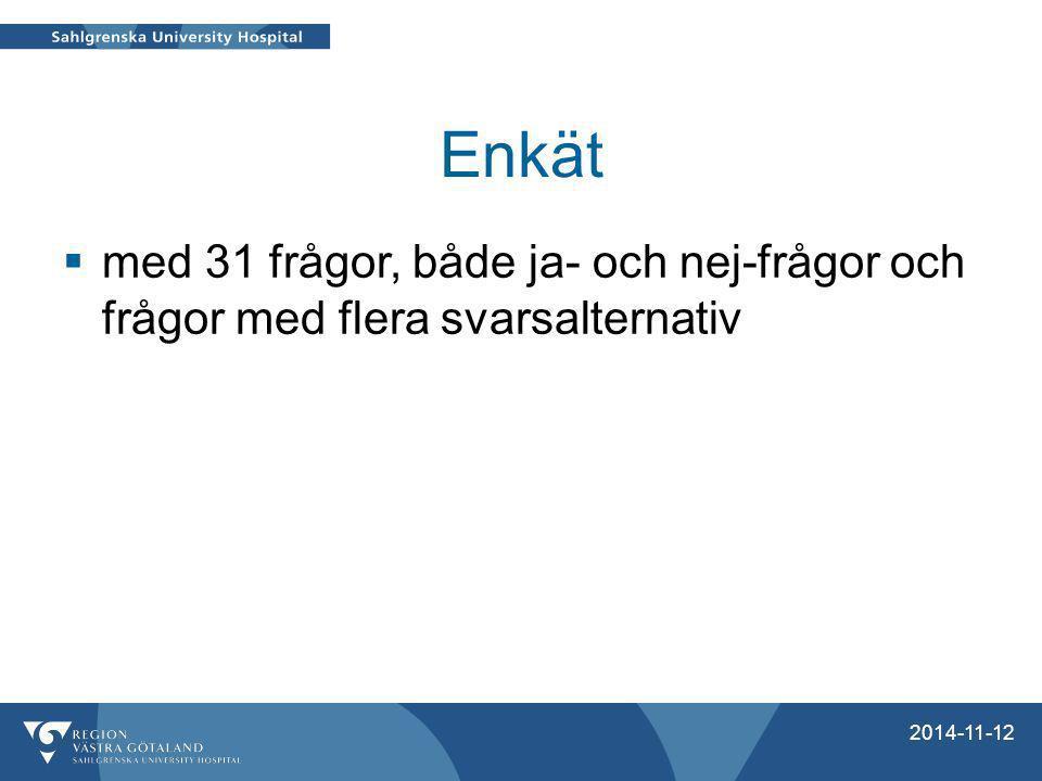 Resultat av enkäten Anhöriga/professionella runt 20 barn svarade på enkäten  1 kunde inte besvara frågorna pga.