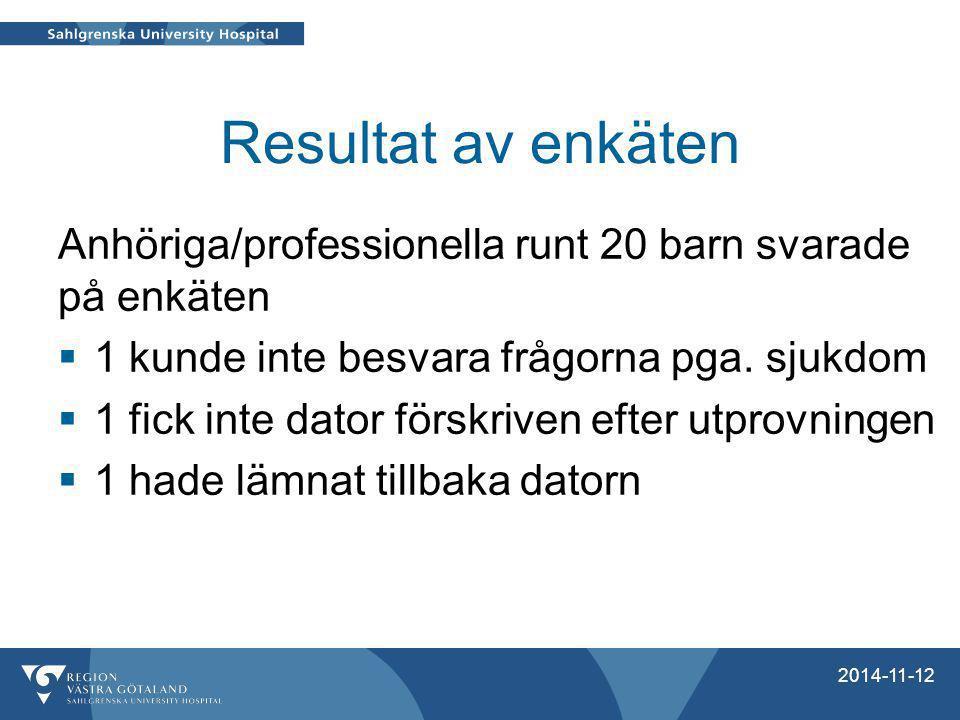 Resultat av enkäten Anhöriga/professionella runt 20 barn svarade på enkäten  1 kunde inte besvara frågorna pga. sjukdom  1 fick inte dator förskrive