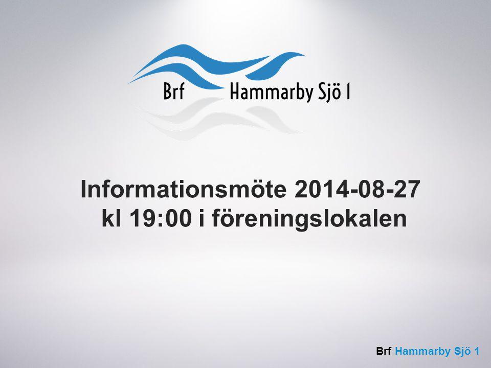 Brf Hammarby Sjö 1 Informationsmöte 2014-08-27 kl 19:00 i föreningslokalen