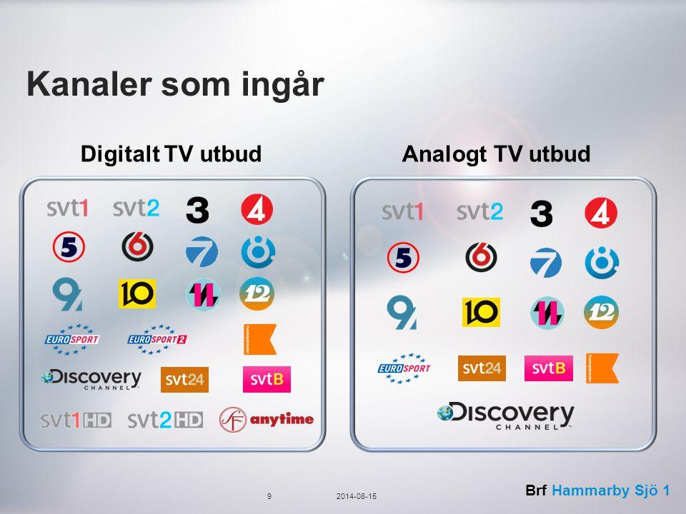 Brf Hammarby Sjö 1 Kanaler som ingår 92014-08-15 Digitalt TV utbudAnalogt TV utbud