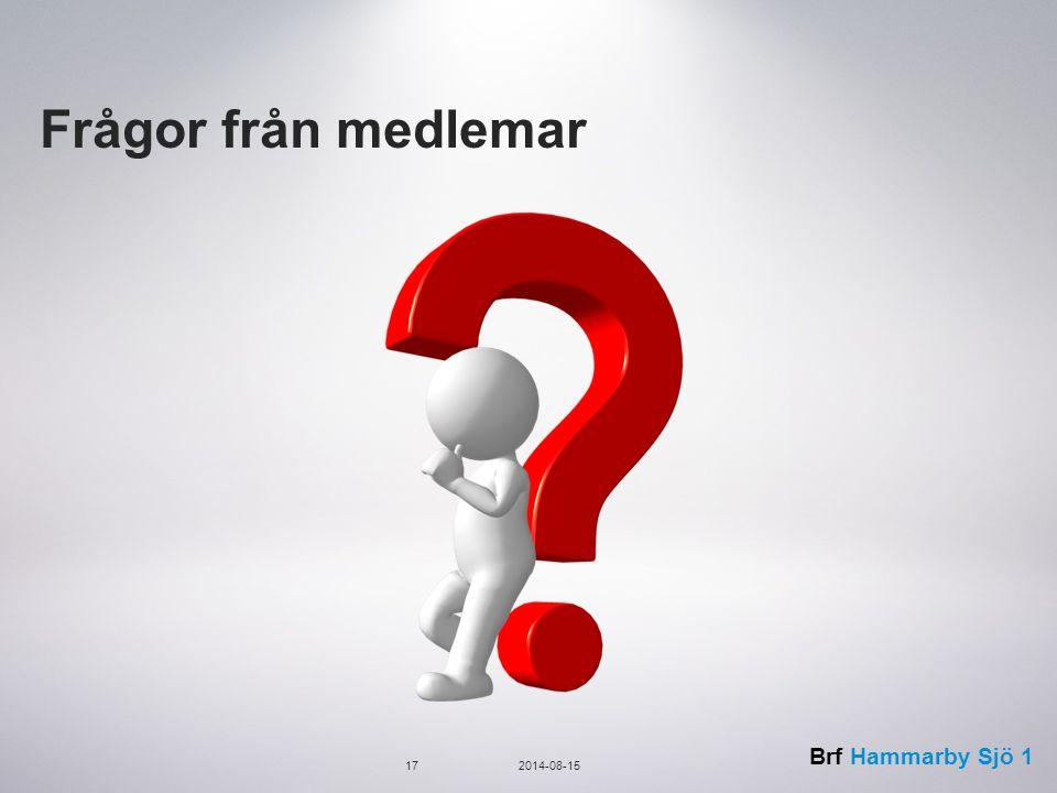 Brf Hammarby Sjö 1 Frågor från medlemar 172014-08-15