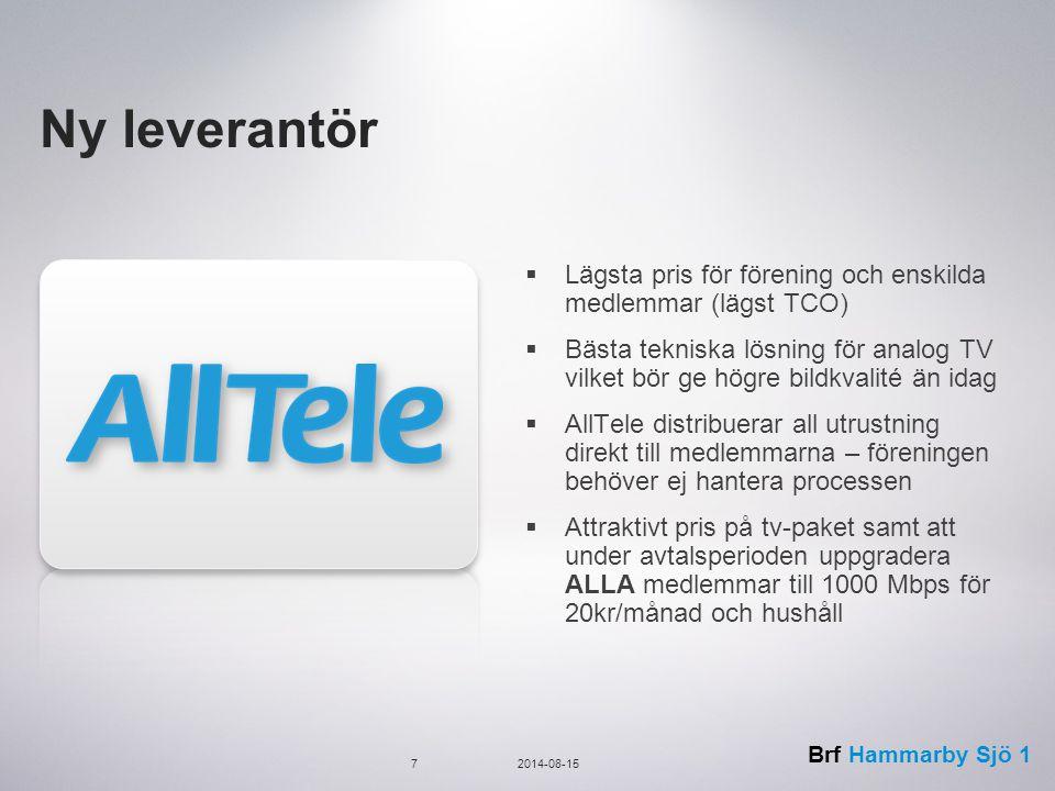Brf Hammarby Sjö 1 Tjänst från AllTele Bredband:  250/250 Mbps med möjlighet att uppgradera alla till 1000/1000 Mbps för 20 kr/mån  IGhost för anonym surf TV:  19 digital TV kanaler med TV box som är förbredd för inspelning  16 analog TV kanaler levererade på en dedikerad infrastruktur  Du betalar endast mellanskillnaden när du uppgraderar ditt kanalpaket till Medium, Large eller XXL Telefoni:  IP-telefoni ingår med samma funktion som för telefoni via telejacket 82014-08-15