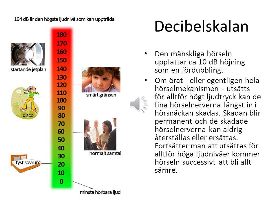 Decibelskalan Den mänskliga hörseln uppfattar ca 10 dB höjning som en fördubbling.