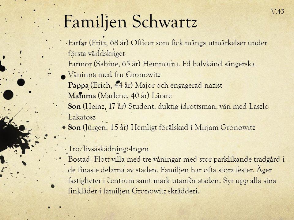 Familjen Schwartz Farfar (Fritz, 68 år) Officer som fick många utmärkelser under första världskriget Farmor (Sabine, 65 år) Hemmafru.