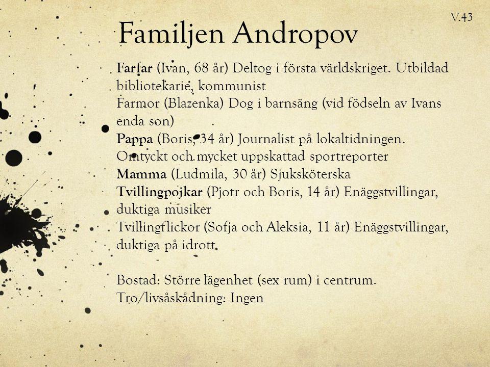 Familjen Andropov Farfar (Ivan, 68 år) Deltog i första världskriget.