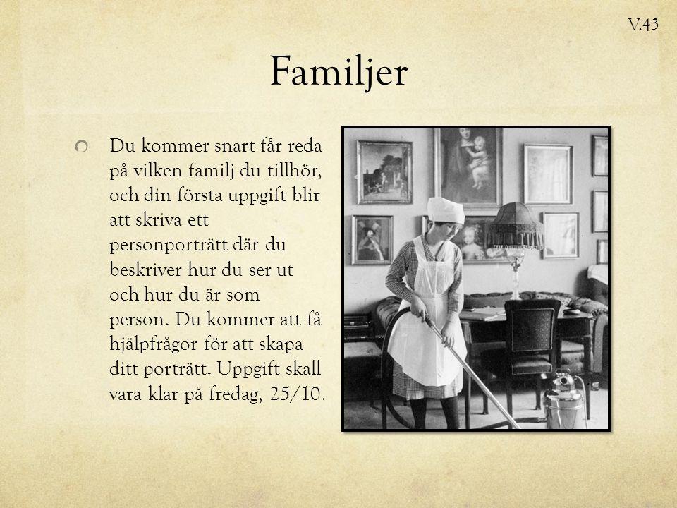 Familjer Du kommer snart får reda på vilken familj du tillhör, och din första uppgift blir att skriva ett personporträtt där du beskriver hur du ser ut och hur du är som person.
