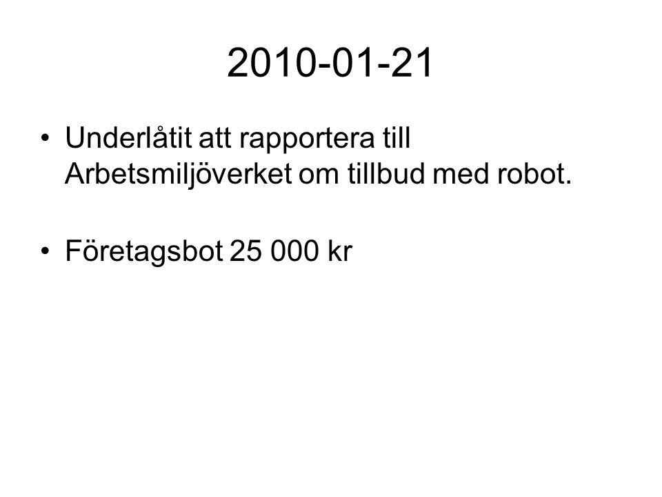 2010-01-21 Underlåtit att rapportera till Arbetsmiljöverket om tillbud med robot.