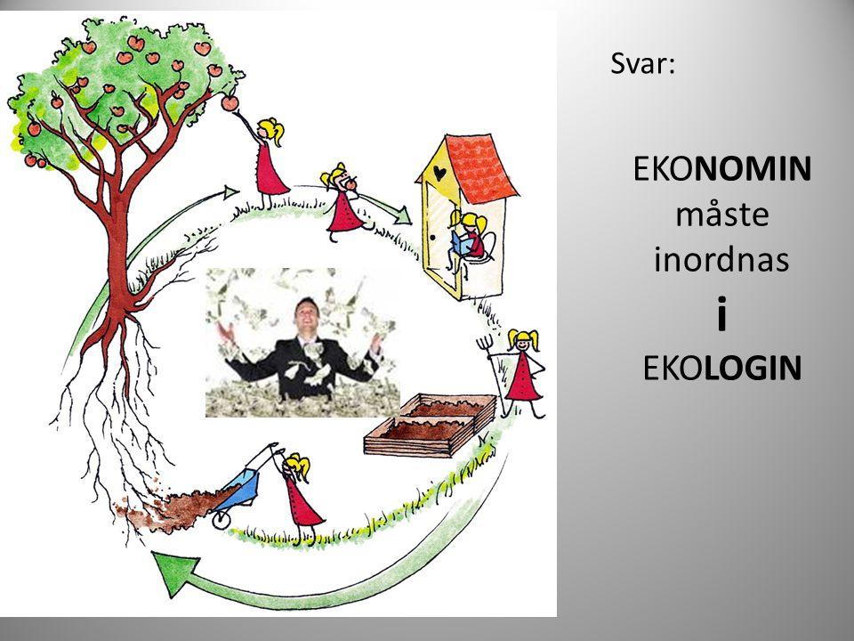 EKONOMIN måste inordnas i EKOLOGIN Svar: