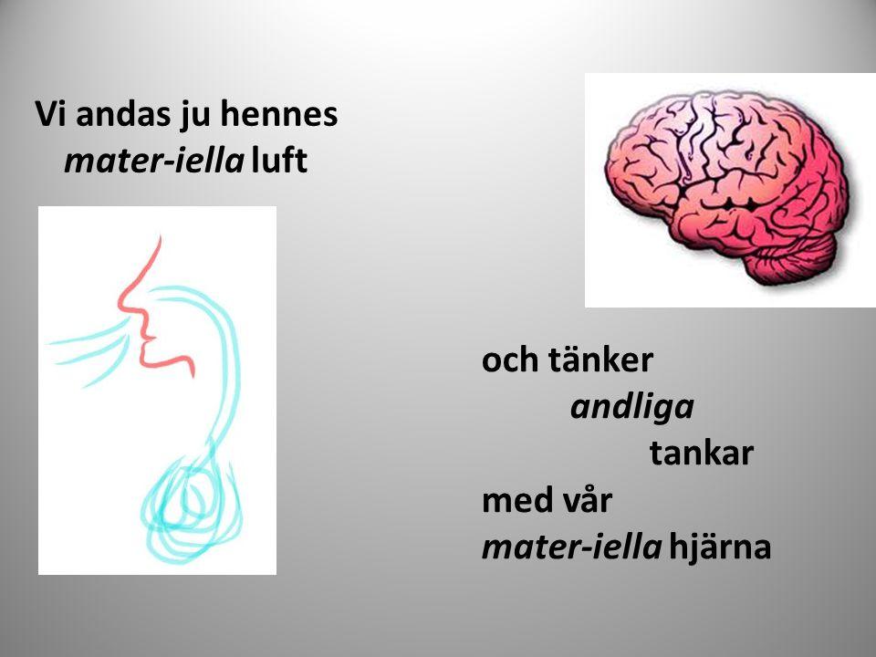Vi andas ju hennes mater-iella luft och tänker andliga tankar med vår mater-iella hjärna