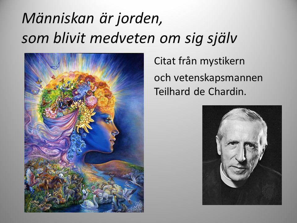 Människan är jorden, som blivit medveten om sig själv Citat från mystikern och vetenskapsmannen Teilhard de Chardin.