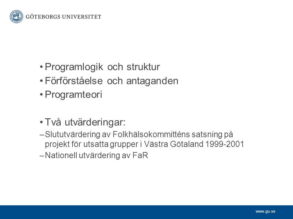 www.gu.se Programlogik och struktur Förförståelse och antaganden Programteori Två utvärderingar: –Slututvärdering av Folkhälsokommitténs satsning på p