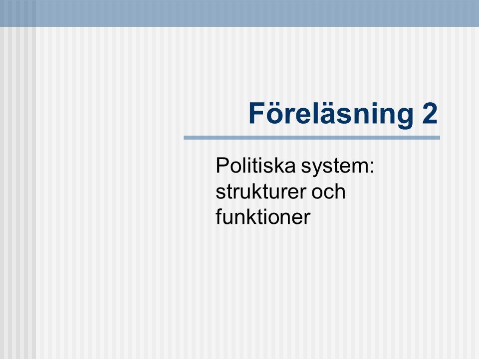 Föreläsning 2 Politiska system: strukturer och funktioner