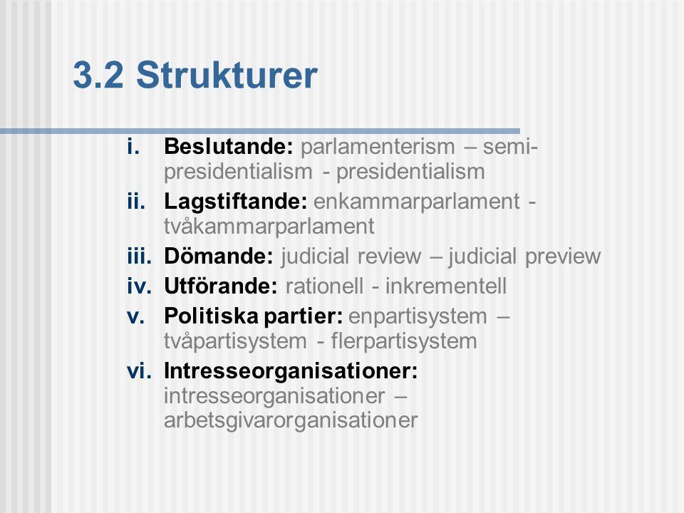 3.2 Strukturer i. Beslutande: parlamenterism – semi- presidentialism - presidentialism ii. Lagstiftande: enkammarparlament - tvåkammarparlament iii. D