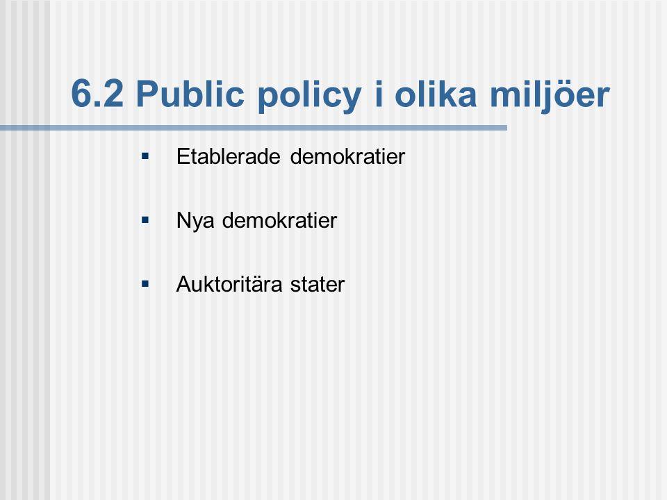 6.2 Public policy i olika miljöer  Etablerade demokratier  Nya demokratier  Auktoritära stater