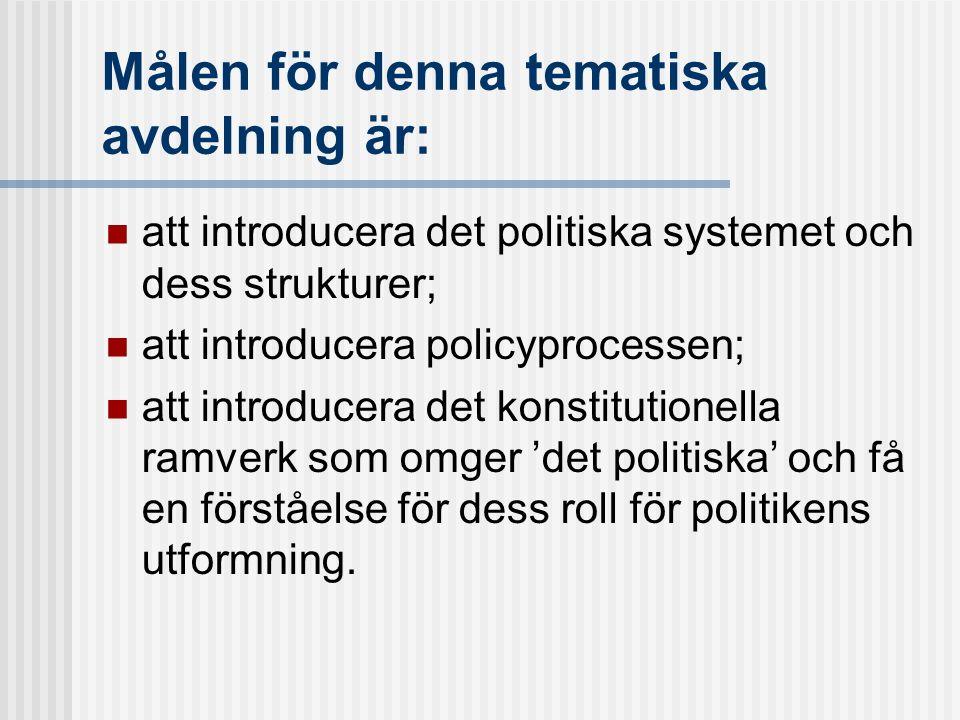 Målen för denna tematiska avdelning är: att introducera det politiska systemet och dess strukturer; att introducera policyprocessen; att introducera d