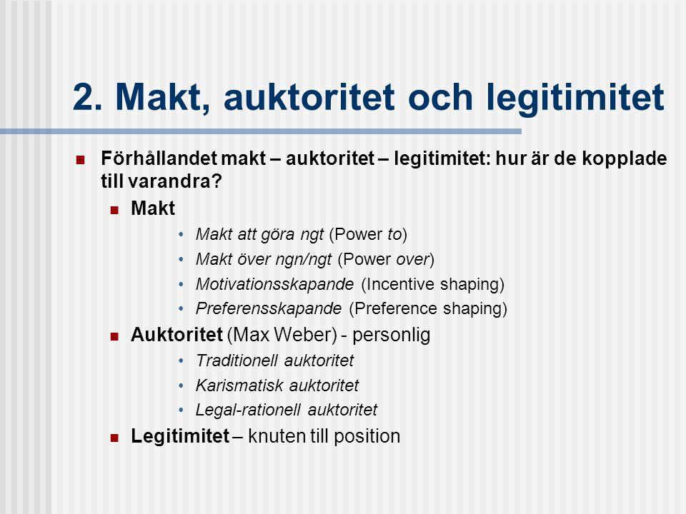 2. Makt, auktoritet och legitimitet Förhållandet makt – auktoritet – legitimitet: hur är de kopplade till varandra? Makt Makt att göra ngt (Power to)