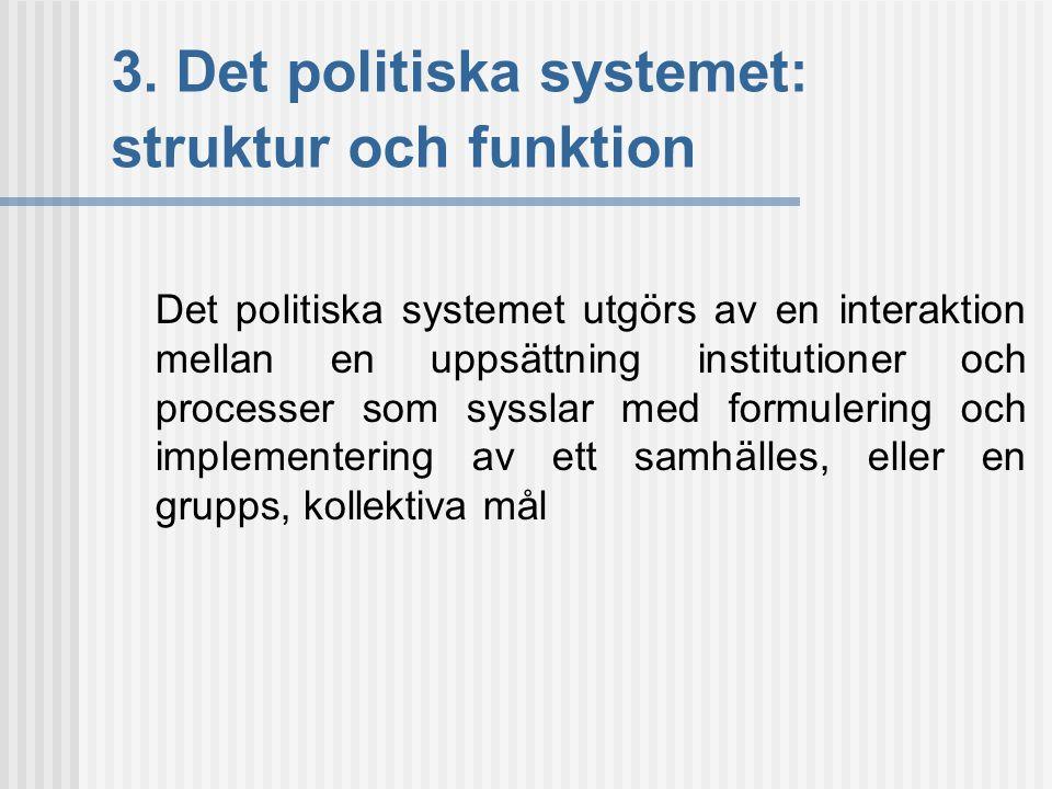 3. Det politiska systemet: struktur och funktion Det politiska systemet utgörs av en interaktion mellan en uppsättning institutioner och processer som