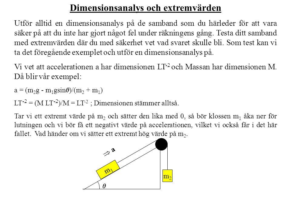 Dimensionsanalys och extremvärden Utför alltid en dimensionsanalys på de samband som du härleder för att vara säker på att du inte har gjort något fel