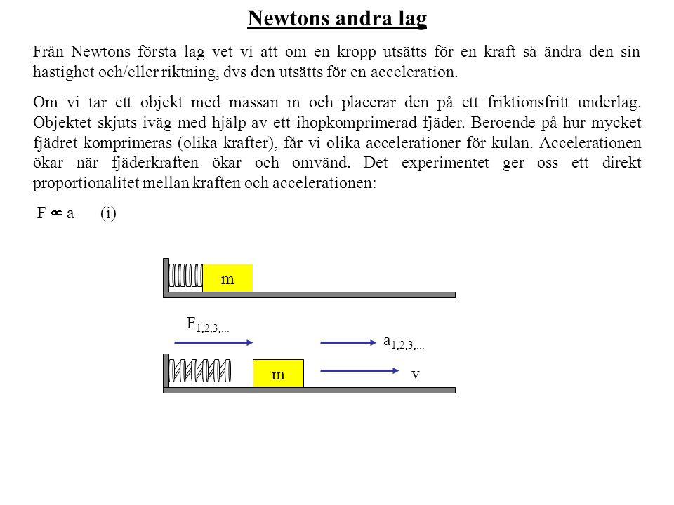 Newtons andra lag Från Newtons första lag vet vi att om en kropp utsätts för en kraft så ändra den sin hastighet och/eller riktning, dvs den utsätts f