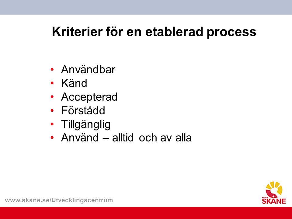 www.skane.se/Utvecklingscentrum Kriterier för en etablerad process Användbar Känd Accepterad Förstådd Tillgänglig Använd – alltid och av alla