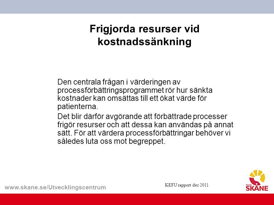 www.skane.se/Utvecklingscentrum Frigjorda resurser vid kostnadssänkning Den centrala frågan i värderingen av processförbättringsprogrammet rör hur sän
