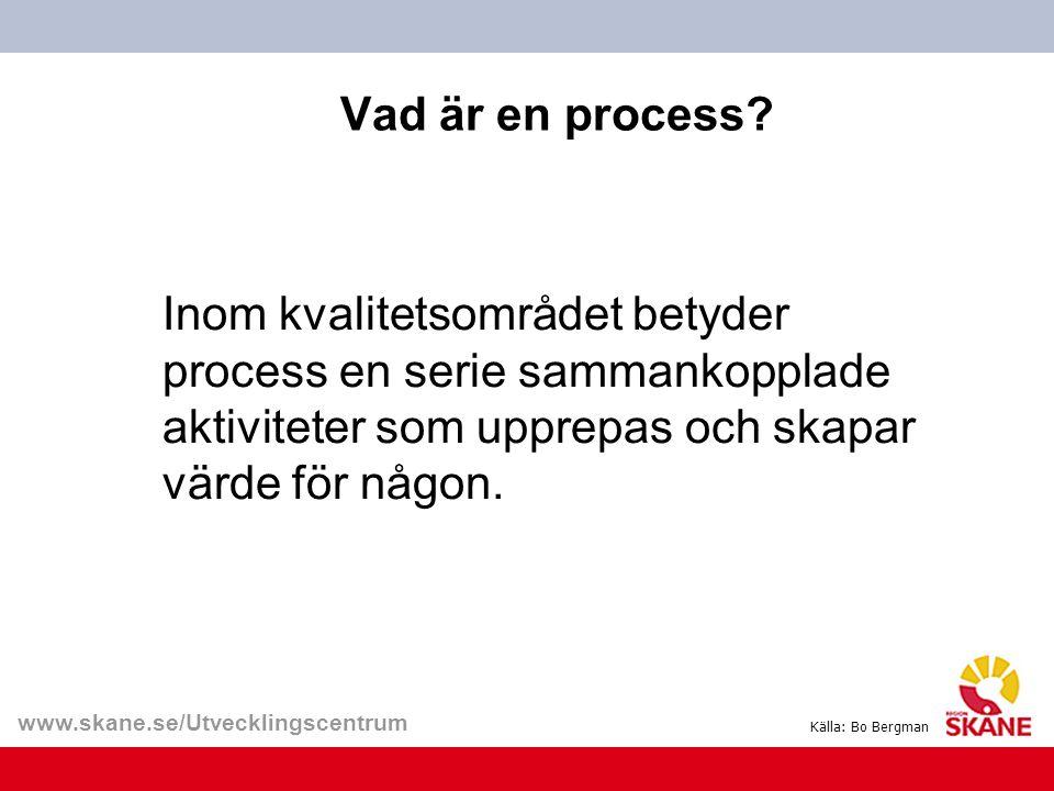 www.skane.se/Utvecklingscentrum Vad är en process? Inom kvalitetsområdet betyder process en serie sammankopplade aktiviteter som upprepas och skapar v