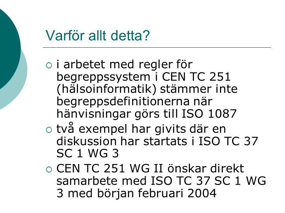 Varför allt detta?  i arbetet med regler för begreppssystem i CEN TC 251 (hälsoinformatik) stämmer inte begreppsdefinitionerna när hänvisningar görs
