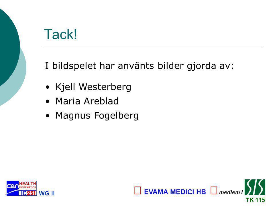 Tack! Kjell Westerberg Maria Areblad Magnus Fogelberg I bildspelet har använts bilder gjorda av: WG II TK 115 medlem i  EVAMA MEDICI HB 