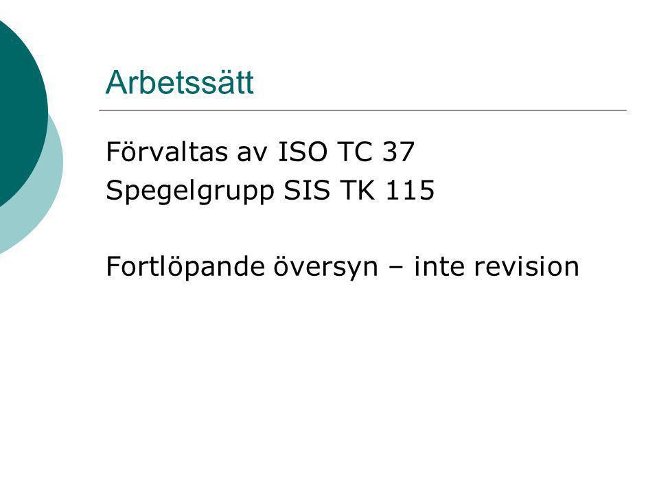 Arbetssätt Förvaltas av ISO TC 37 Spegelgrupp SIS TK 115 Fortlöpande översyn – inte revision