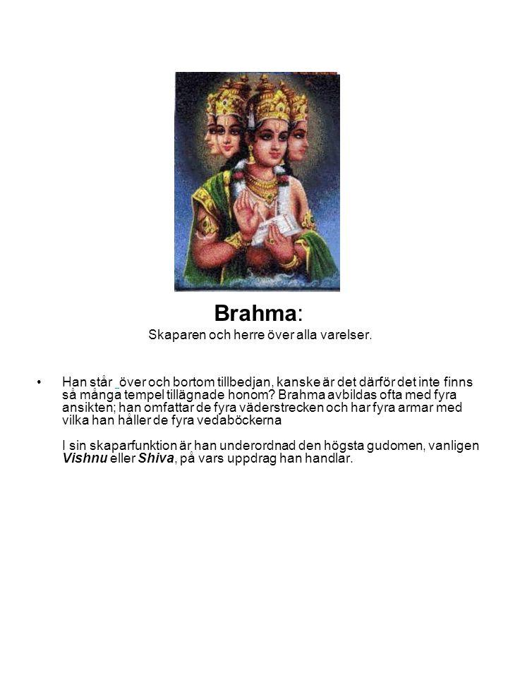 Brahma: Skaparen och herre över alla varelser. Han står över och bortom tillbedjan, kanske är det därför det inte finns så många tempel tillägnade hon
