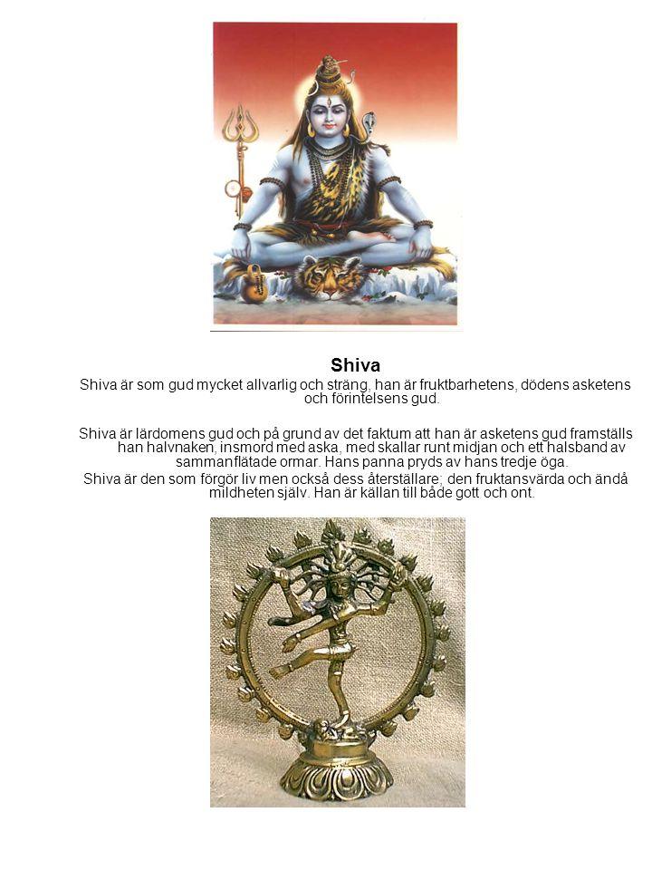 Shiva Shiva är som gud mycket allvarlig och sträng, han är fruktbarhetens, dödens asketens och förintelsens gud. Shiva är lärdomens gud och på grund a