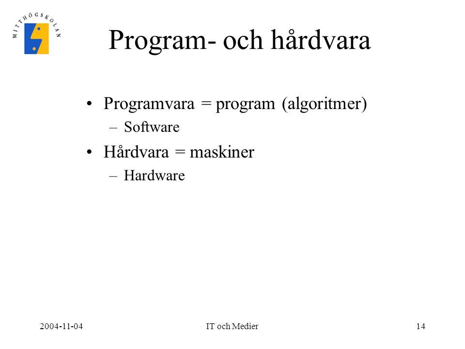 2004-11-04IT och Medier14 Program- och hårdvara Programvara = program (algoritmer) –Software Hårdvara = maskiner –Hardware