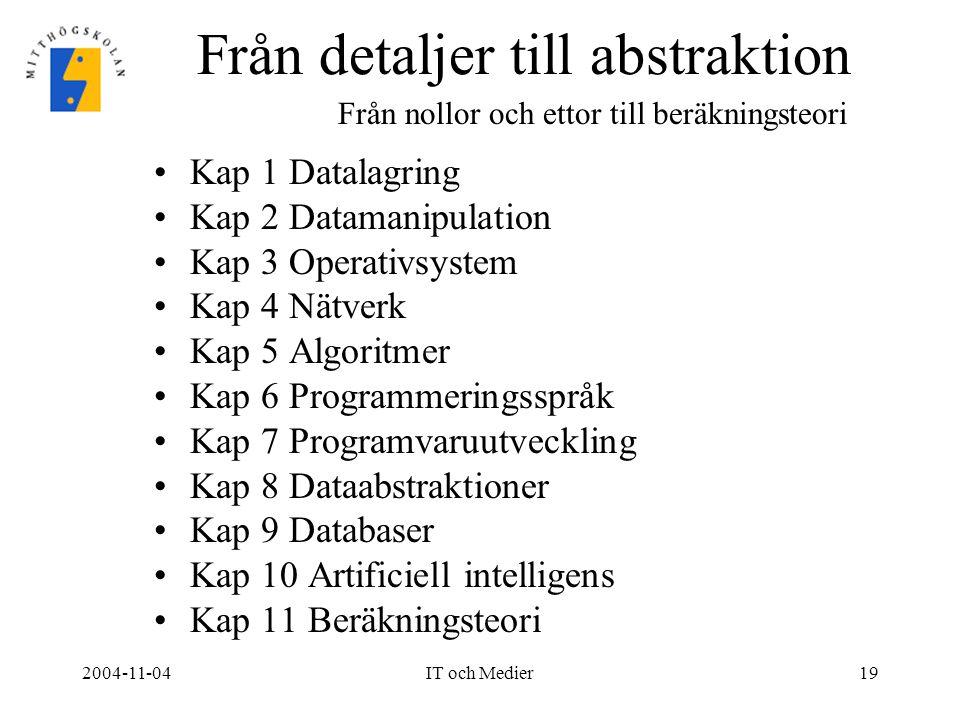 2004-11-04IT och Medier19 Från detaljer till abstraktion Kap 1 Datalagring Kap 2 Datamanipulation Kap 3 Operativsystem Kap 4 Nätverk Kap 5 Algoritmer
