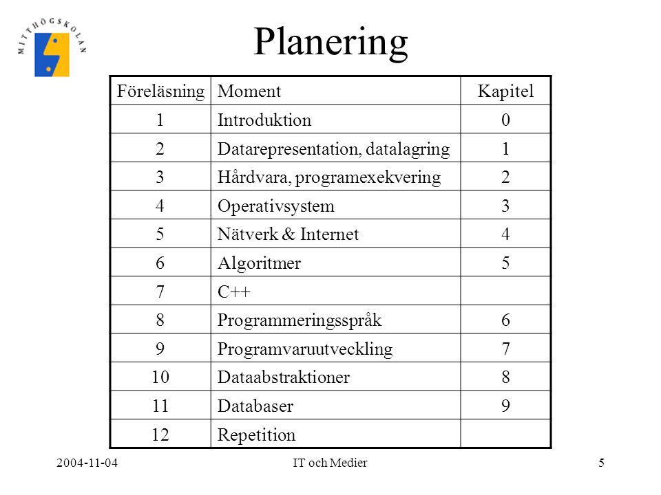 2004-11-04IT och Medier5 Planering FöreläsningMomentKapitel 1Introduktion0 2Datarepresentation, datalagring1 3Hårdvara, programexekvering2 4Operativsy